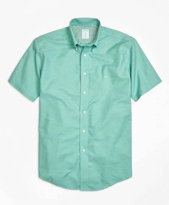 Non-Iron Milano Fit Heathered Oxford Short-Sleeeve Sport Shirt Green