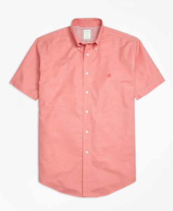 Non-Iron Milano Fit Heathered Oxford Short-Sleeeve Sport Shirt