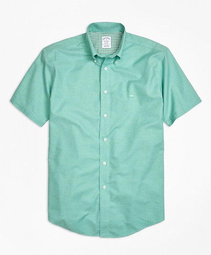 Non-Iron Regent Fit Heathered Oxford Short-Sleeve Sport Shirt