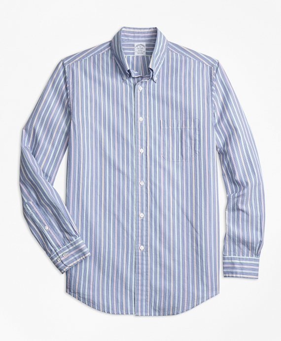 Regent Fit Alternating Stripe Seersucker Sport Shirt
