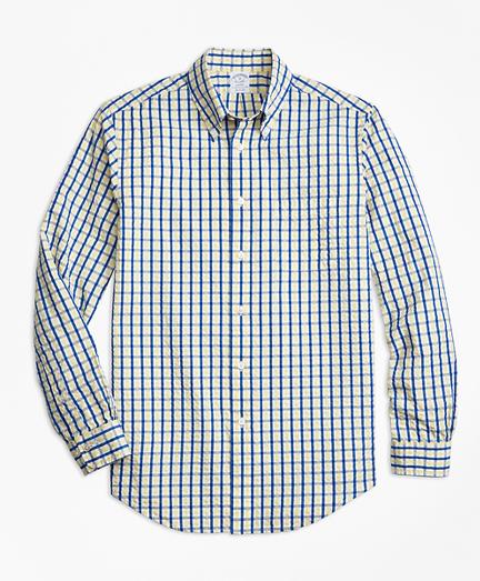 Regent Fit Yellow Check Seersucker Sport Shirt