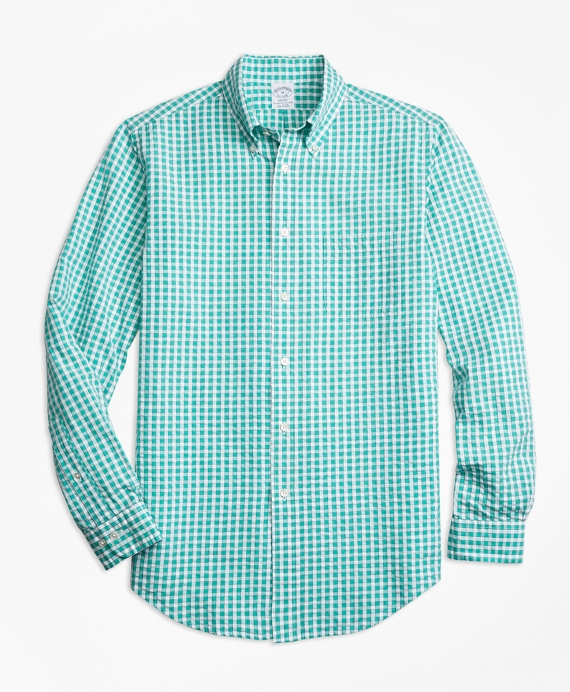 Regent Fit Green Check Seersucker Sport Shirt Green