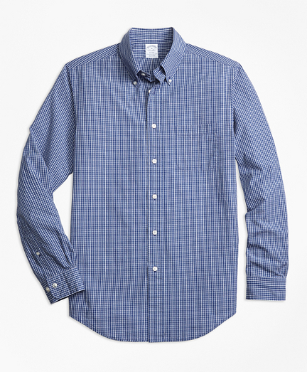 Regent Fit Navy Check Seersucker Sport Shirt