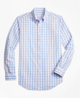 Regent Fit Light-Blue Check Seersucker Sport Shirt