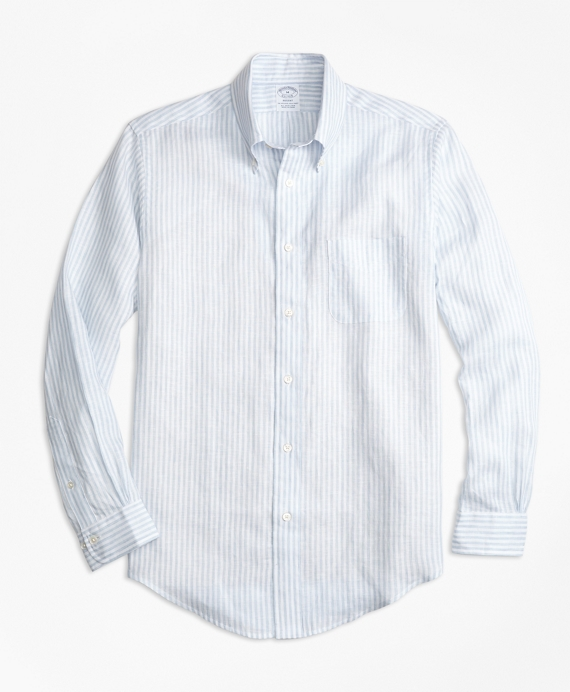 Regent Fit Stripe Irish Linen Sport Shirt Blue