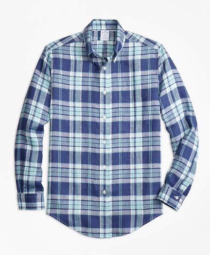 Regent Fit Blue Plaid Irish Linen Sport Shirt