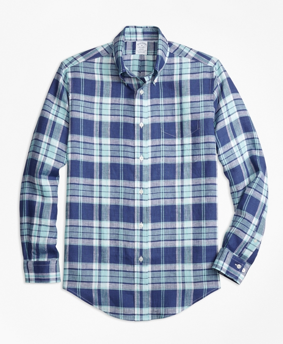 Regent Fit Blue Plaid Irish Linen Sport Shirt Blue