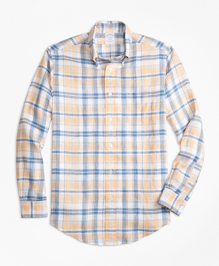 Regent Fit Plaid Irish Linen Sport Shirt