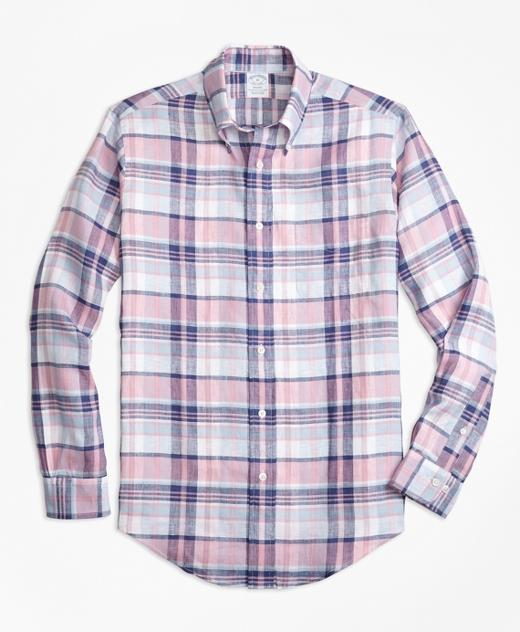 Regent Fit Pink Plaid Irish Linen Sport Shirt