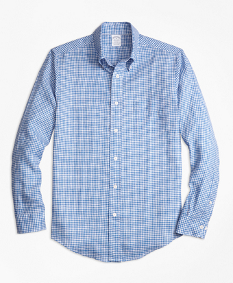 Regent Fit Gingham Irish Linen Sport Shirt