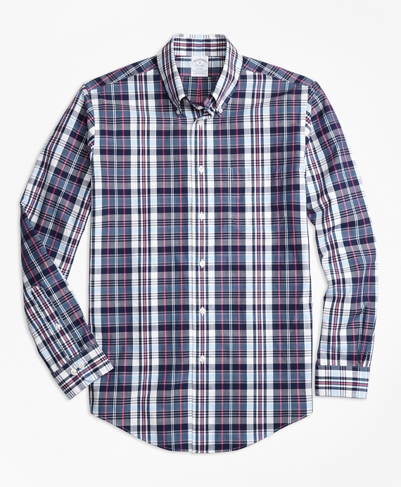 Regent Fit Slub Cotton Plaid Sport Shirt Blue-White