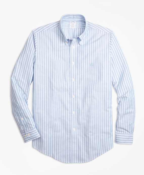 Non-Iron BrooksCool® Regent Fit Stripe Sport Shirt Blue