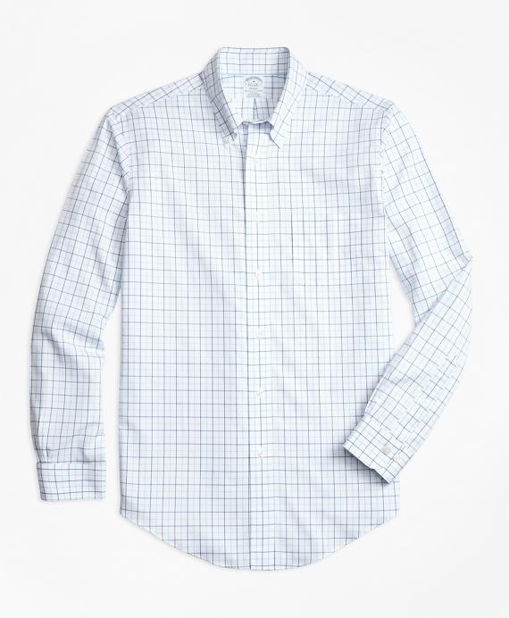 Non-Iron BrooksCool® Regent Fit Tonal Windowpane Sport Shirt Blue