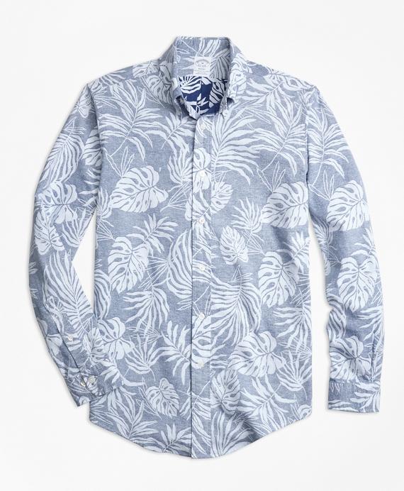 Regent Fit Reverse Palm Tree Print Sport Shirt Blue