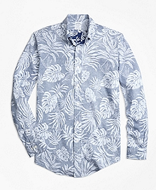 Regent Fit Reverse Palm Tree Print Sport Shirt