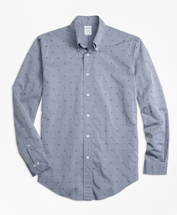 Regent Fit Dobby Pineapple Sport Shirt Navy