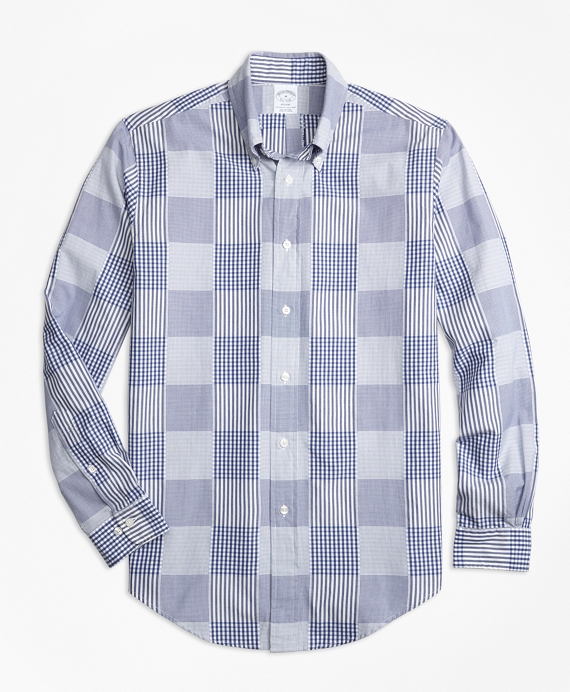 Regent Fit Dobby Patchwork Sport Shirt Blue