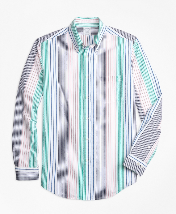 Regent Fit Seersucker Awning Stripe Sport Shirt