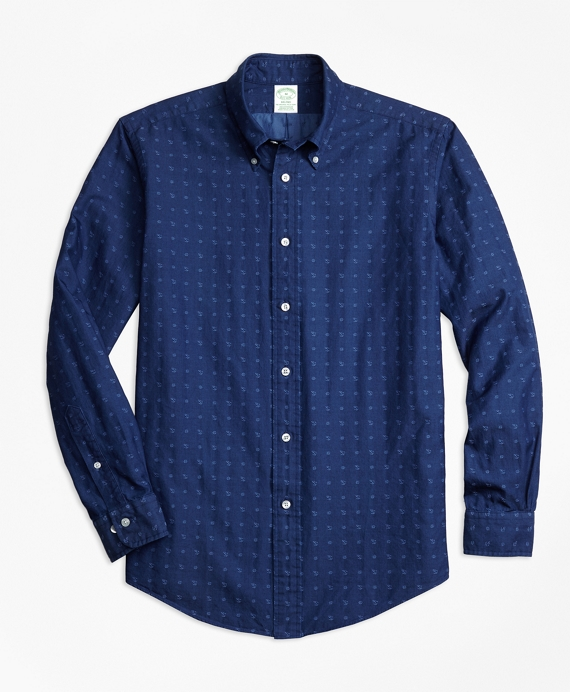 Milano Fit Indigo Nautical Clip Sport Shirt` Indigo