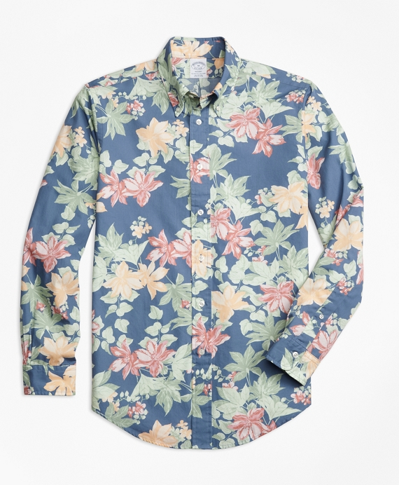 Regent Fit Tropical Floral Print Sport Shirt Multi