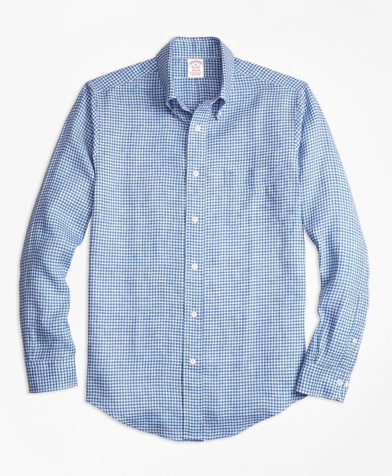 Madison Fit Gingham Irish Linen Sport Shirt Blue