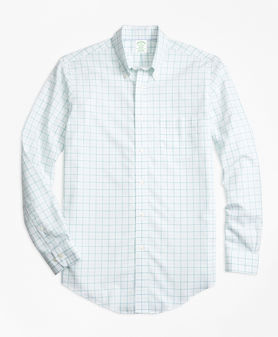 Non-Iron BrooksCool® Milano Fit Tonal Windowpane Sport Shirt Green