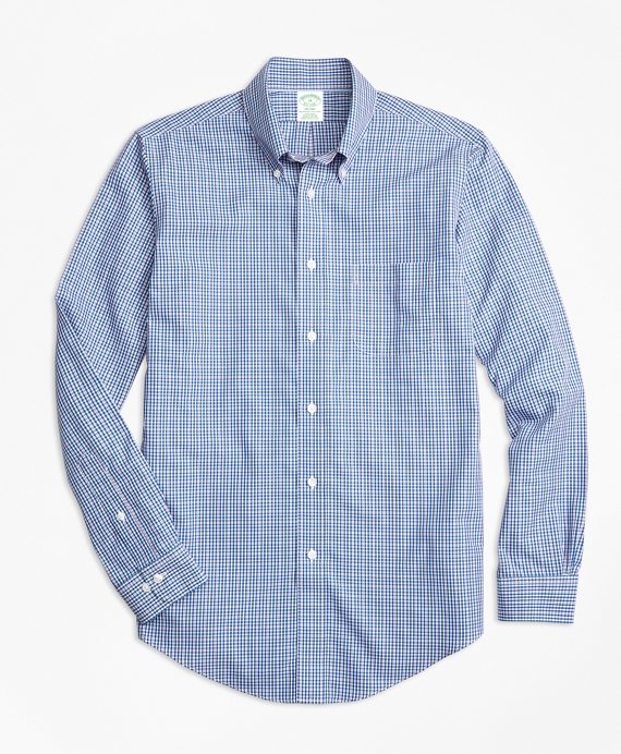 Non-Iron Milano Fit Small Check Sport Shirt Blue-Pink