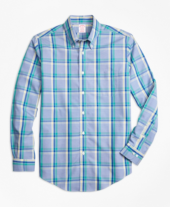 Non-Iron Madison Fit Plaid Sport Shirt Blue-Green