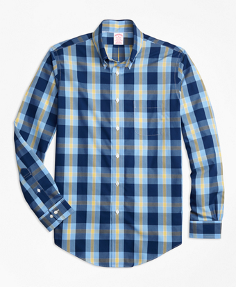 Non-Iron Madison Fit Navy Plaid Sport Shirt