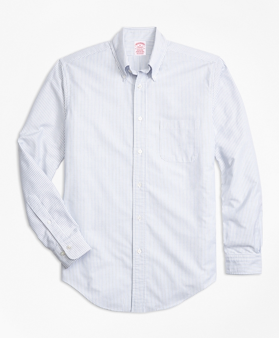 Madison Fit Oxford Bengal Stripe Sport Shirt Blue
