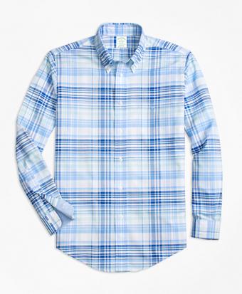 Non-Iron BrooksCool® Milano Fit Plaid Sport Shirt