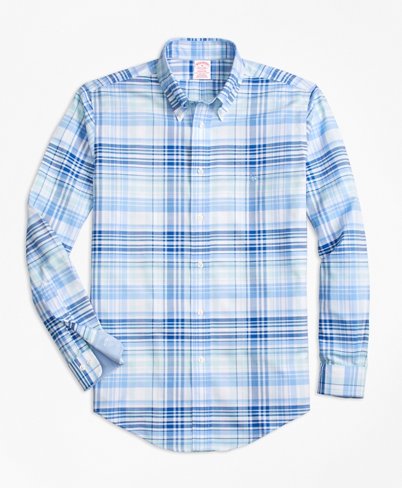 Non-Iron BrooksCool® Madison Fit Plaid Sport Shirt Blue