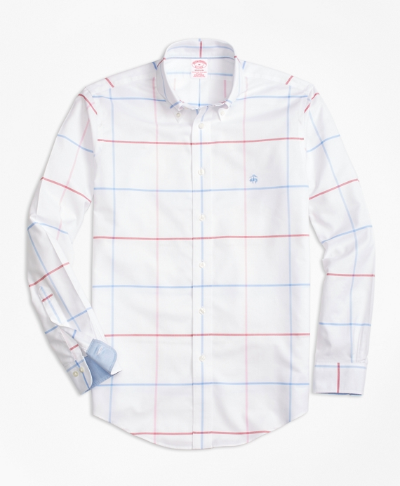 Non-Iron BrooksCool® Madison Fit Windowpane Sport Shirt White-Blue