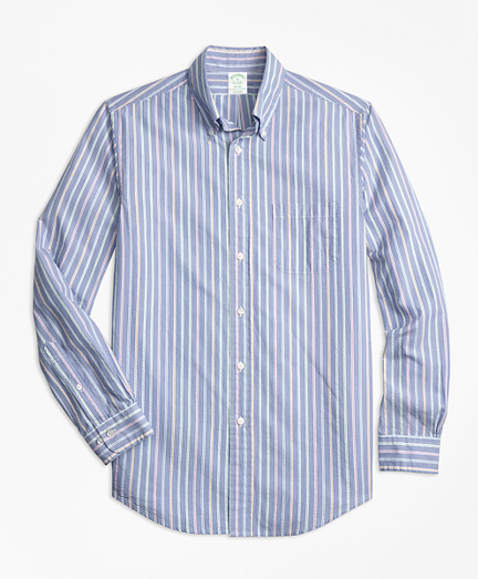 Milano Fit Alternating Stripe Seersucker Sport Shirt