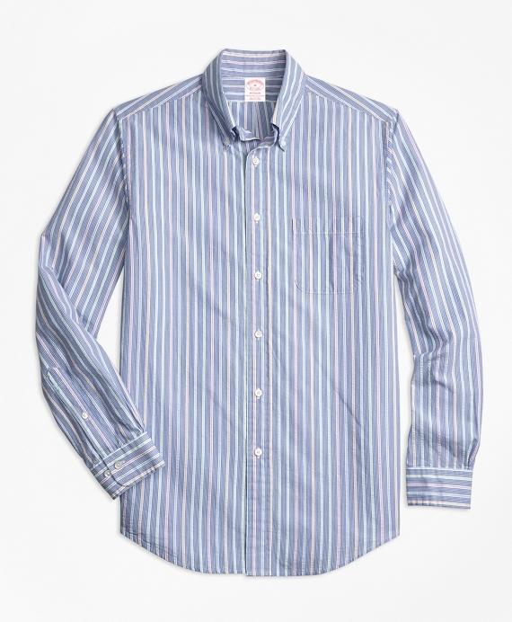 Madison Fit Alternating Stripe Seersucker Sport Shirt Blue