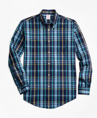 Madison Fit Slub Cotton Dark-Blue Plaid Sport Shirt