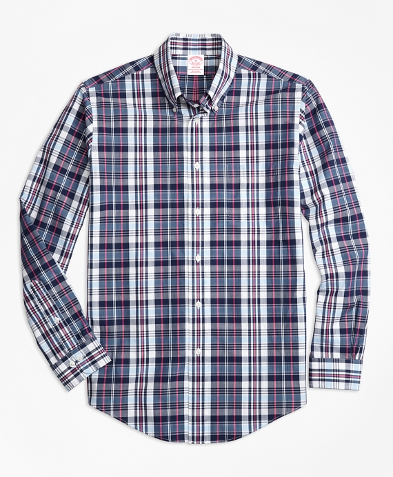 Madison Fit Slub Cotton Plaid Sport Shirt Blue