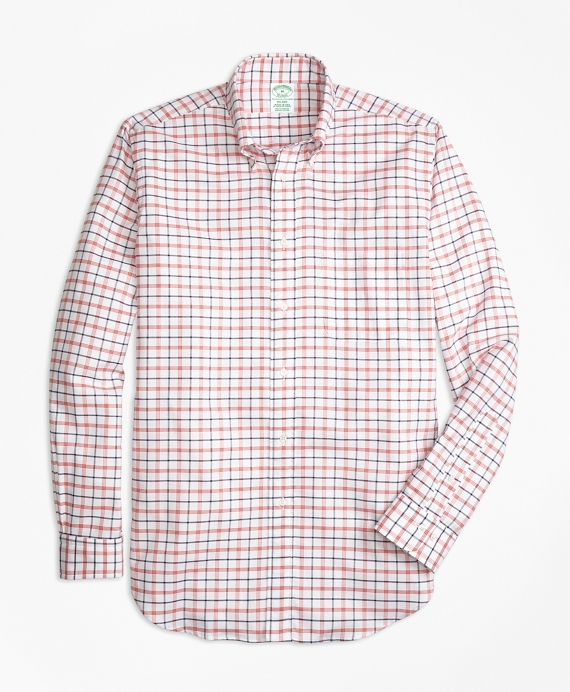 Milano Fit Oxford  Large Check Sport Shirt White Multi