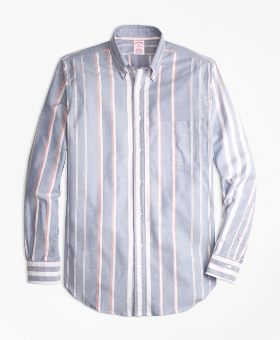 Madison Fit Oxford Bold Stripe Sport Shirt Blue