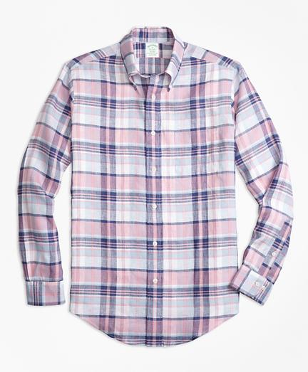 Milano Fit Pink Plaid Irish Linen Sport Shirt