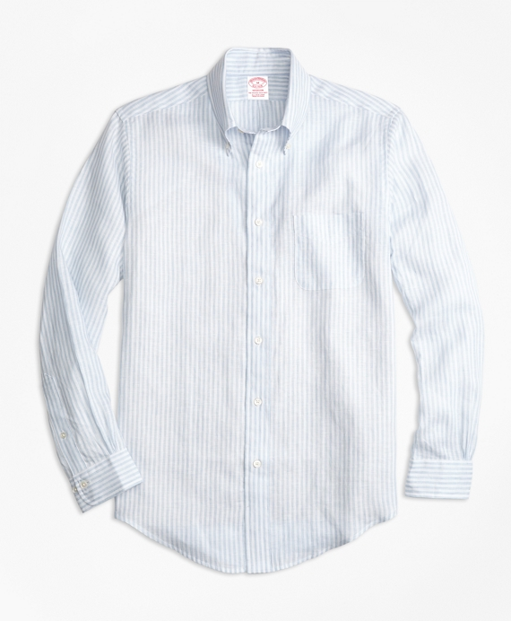 Madison Fit Stripe Irish Linen Sport Shirt Blue
