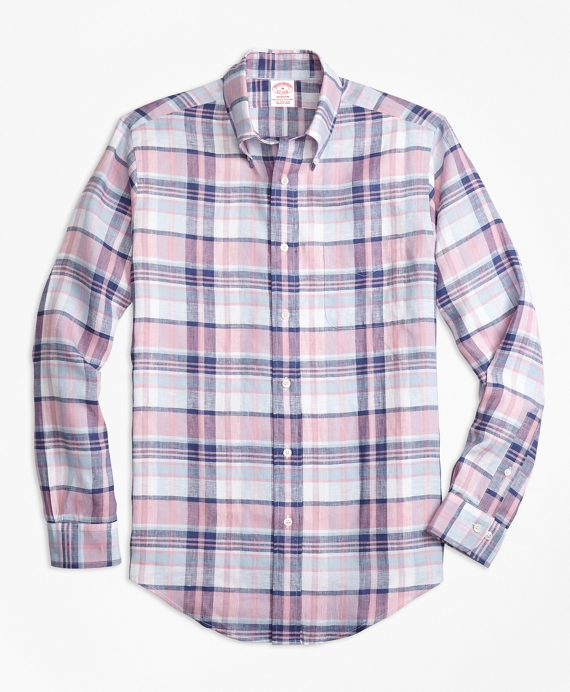 Madison Fit Pink Plaid Irish Linen Sport Shirt