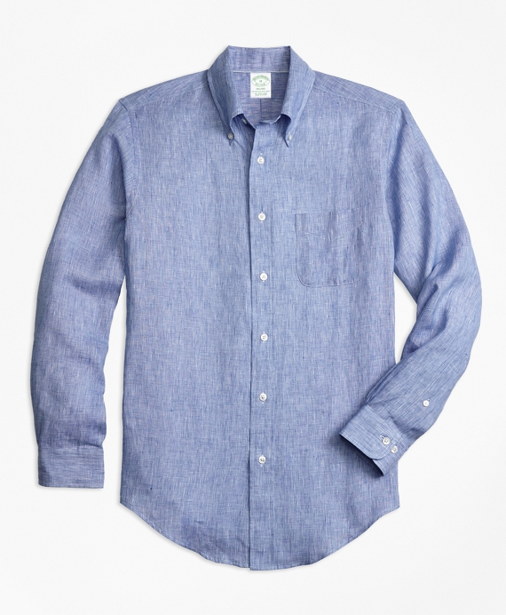 Milano Fit End-on-End Irish Linen Sport Shirt Blue