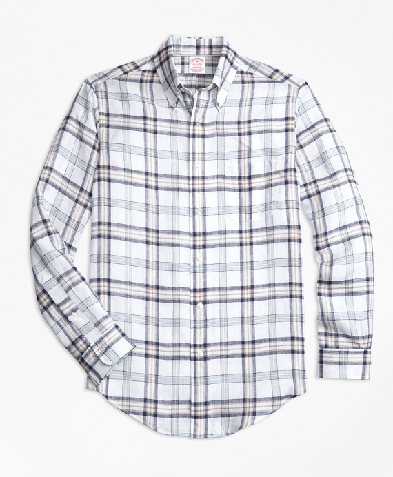 Madison Fit Plaid Irish Linen Sport Shirt White-Blue