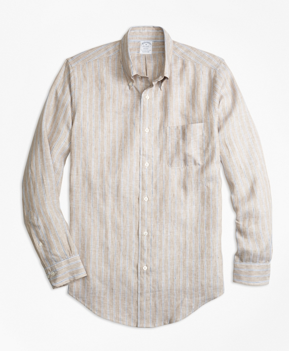 Madison Fit Safari Stripe Irish Linen Sport Shirt
