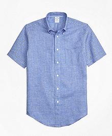 Regent Fit Gingham Irish Linen Short-Sleeve Sport Shirt