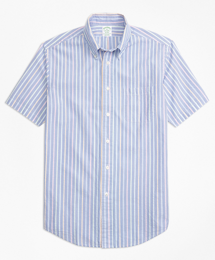 Milano Fit Alternating Stripe Seersucker Short-Sleeve Sport Shirt