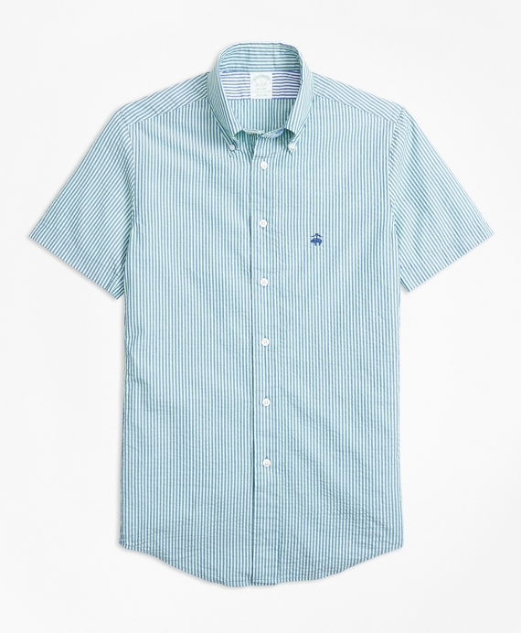 Milano Fit Stripe Seersucker Short-Sleeve Sport Shirt Blue-Green