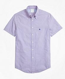 Milano Fit Stripe Seersucker Short-Sleeve Sport Shirt