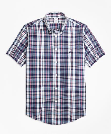 Regent Fit Slub Cotton Plaid Short-Sleeve Sport Shirt